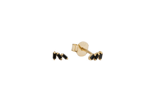 All the Luck in the World Earrings Three Stripes Black 18K gold