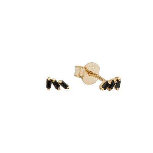 Moonlight Goldplated Sterling Silver Earrings Three Stripes Black