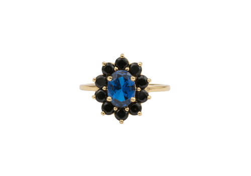 All the Luck in the World Ring Bloem Donker blauw 18K goud