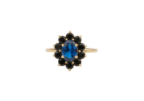 All the Luck in the World Ring Flower Dark blue 18K gold
