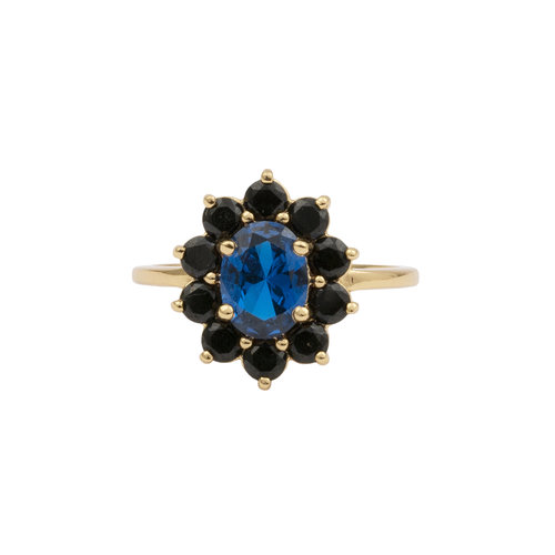Chérie Goldplated Ring Bloem Donker blauw