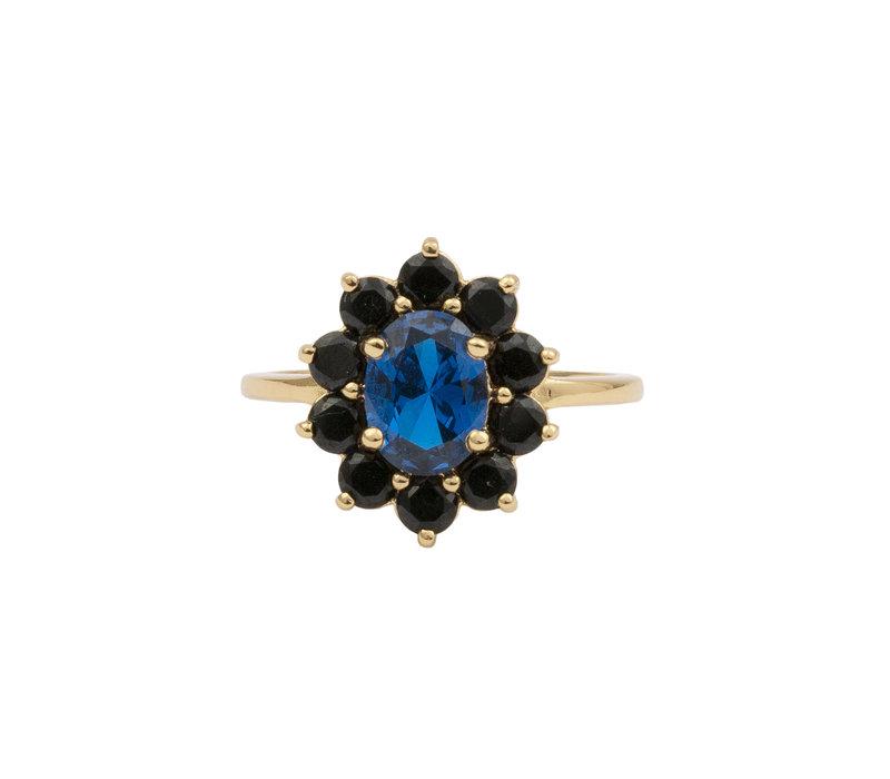 Chérie Goldplated Ring Flower Dark blue