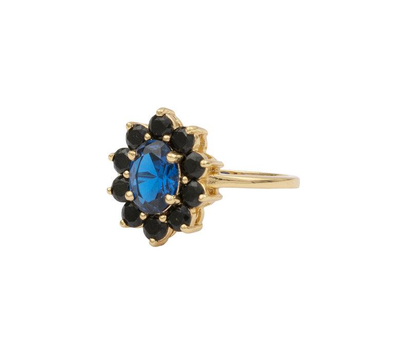 Chérie Goldplated Ring Bloem Donker blauw