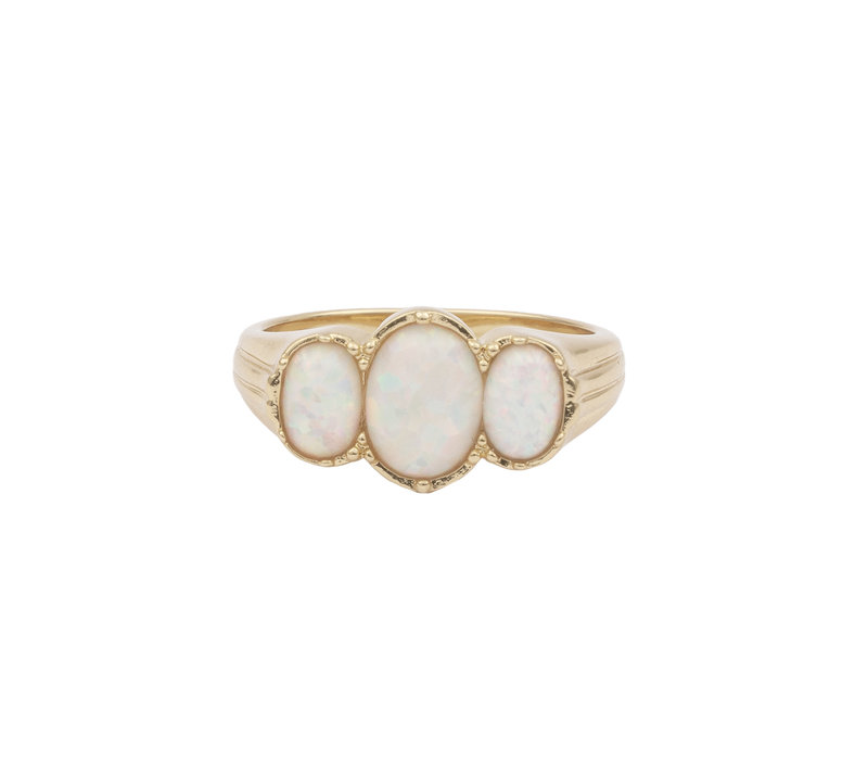 Ring Oval White plated