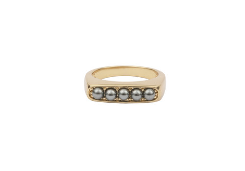 All the Luck in the World Ring Bar Bobble Grey 18K gold