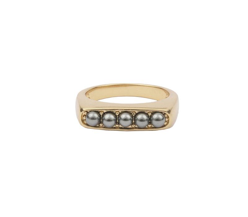 Ring Bar Bobble Grey 18K gold
