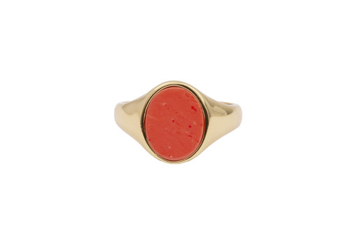 All the Luck in the World Ring Signet Oval Coral 18K gold