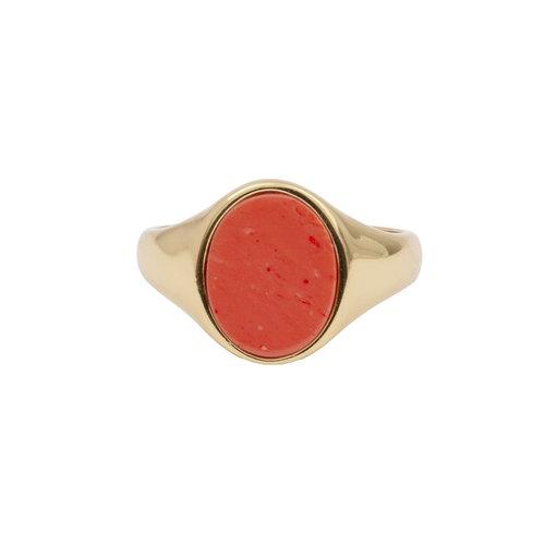 Chérie Goldplated Ring Zegel Oval Koraal