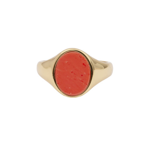 Ring Zegel Oval Koraal 18K goud