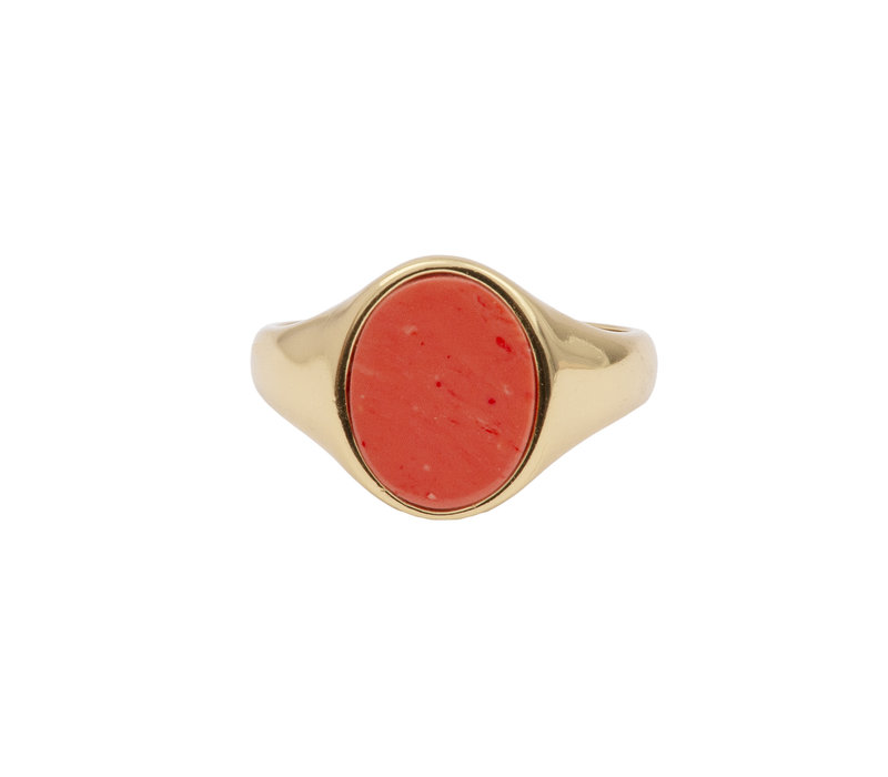 Ring Signet Oval Coral 18K gold