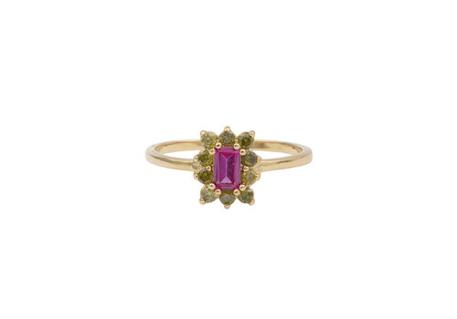 All the Luck in the World Chérie Goldplated Ring Rechthoek Bloem Roze Groen