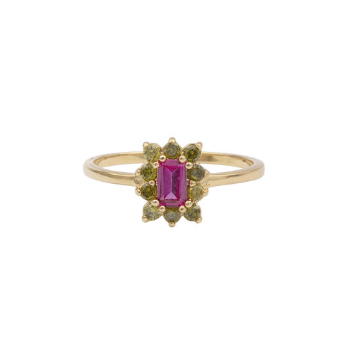 Chérie Goldplated Ring Rectangle Flower Pink Green