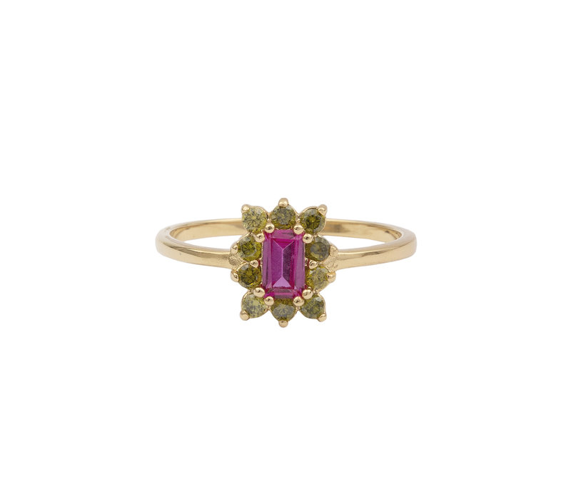 Ring Rectangle Flower Pink Green 18K gold
