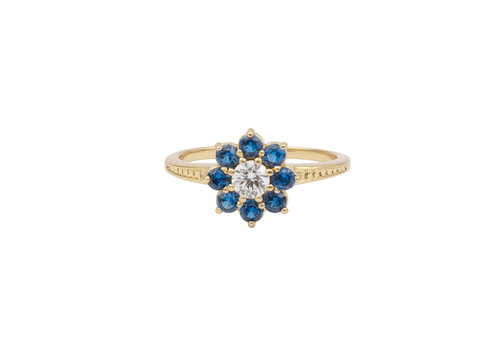 All the Luck in the World Chérie Goldplated Ring Bloem Blauw transparant