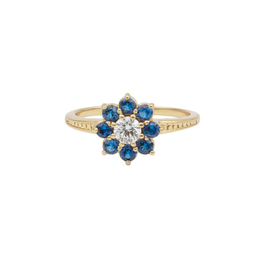 Ring Flower Blue transparant