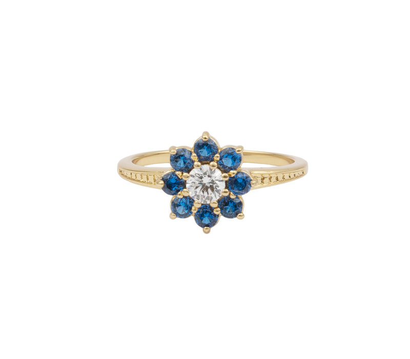 Chérie Goldplated Ring Flower Blue transparant