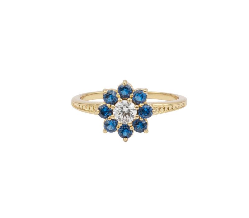 Ring Bloem Blauw transparant verguld