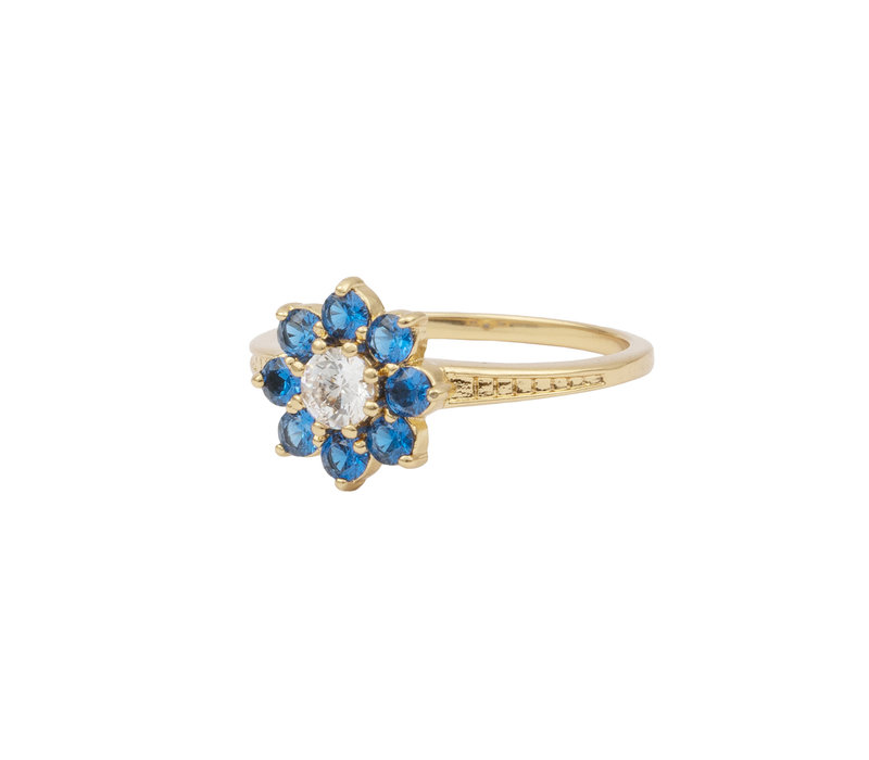 Ring Flower Blue transparant plated