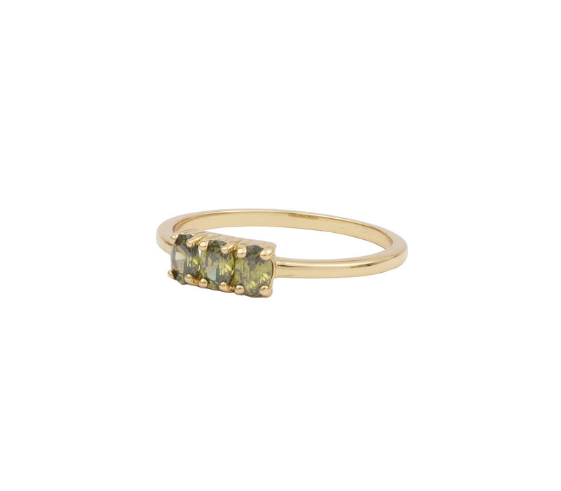 Chérie Goldplated Ring Bar small Green