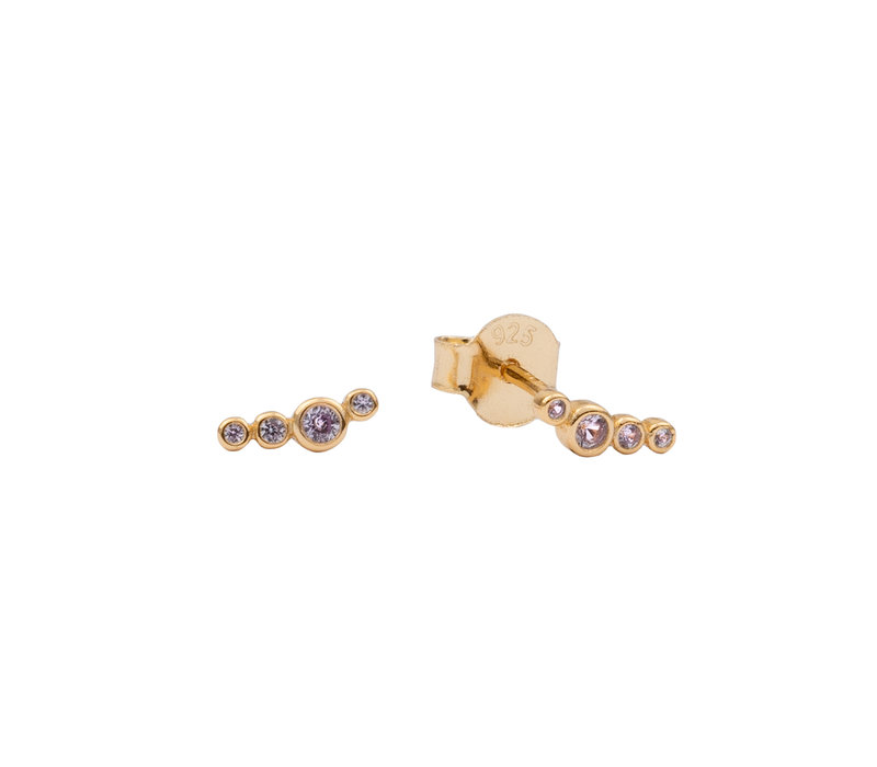 Earrings Four Dots lilac plated