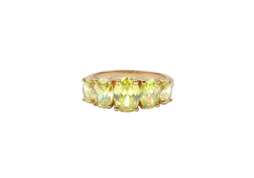 All the Luck in the World Chérie Goldplated Ring Ovalen Lime