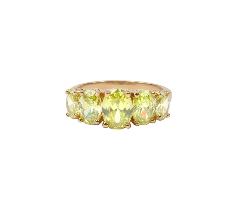 Ring Ovalen Lime verguld