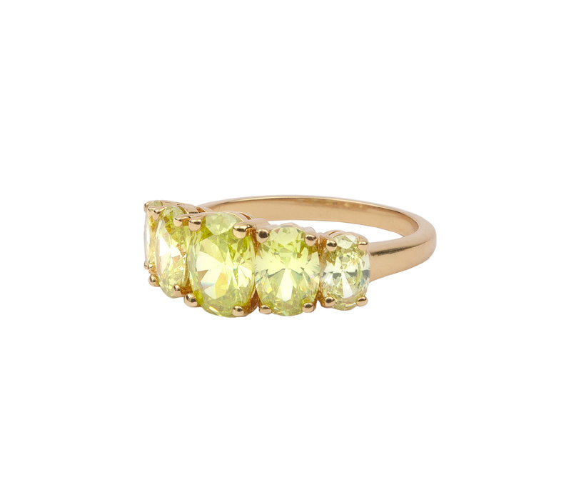 Chérie Goldplated Ring Ovals Lime
