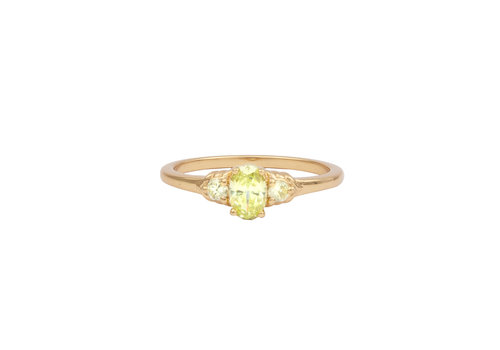 All the Luck in the World Chérie Goldplated Ring Oval klein Lime