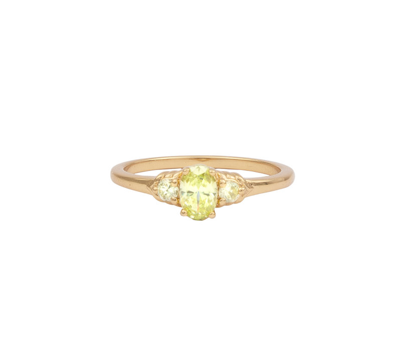 Chérie Goldplated Ring Oval Small Lime
