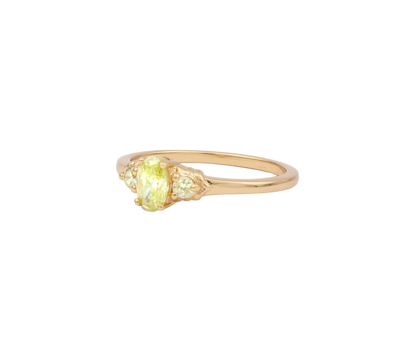 Ring Oval Small Lime  18K gold