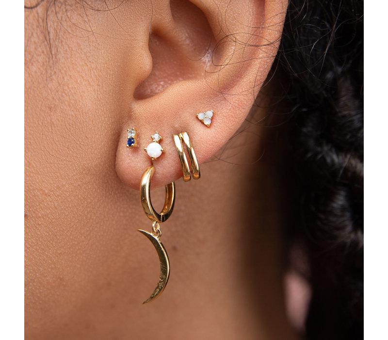 Earrings Two Dots opal white clear 18K gold