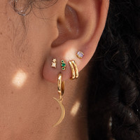 Earrings Three Dots green 18K gold
