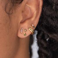 Earrings Two Dots green light pink 18K gold