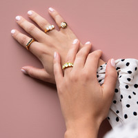 Chérie Goldplated Ring Oval White