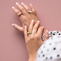 Chérie Goldplated Ring Bar Bobble Grey