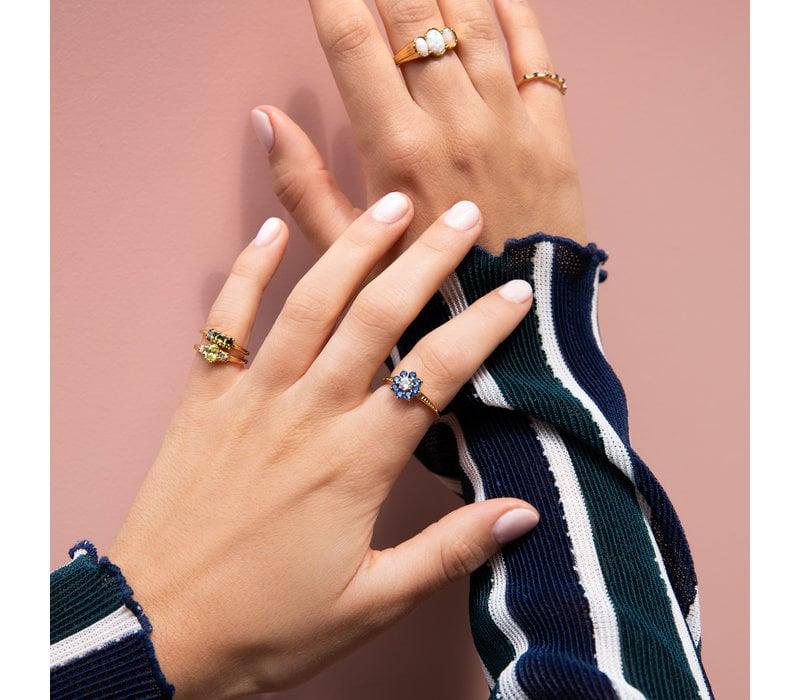 Chérie Goldplated Ring Bar klein Groen
