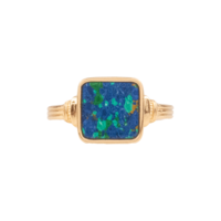 Ring Square Blue plated