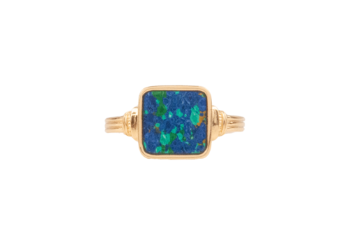 All the Luck in the World Chérie Goldplated Ring Vierkant Blauw