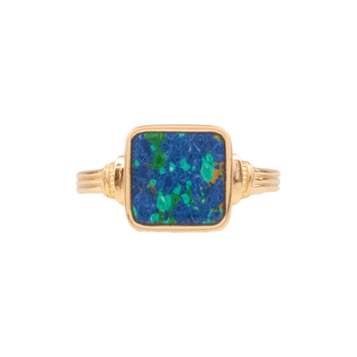 Chérie Goldplated Ring Vierkant Blauw