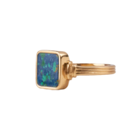 Chérie Goldplated Ring Square Blue
