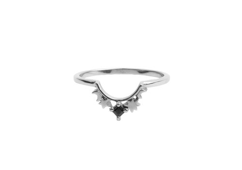 All the Luck in the World Magique Silverplated Ring Crown Star Black