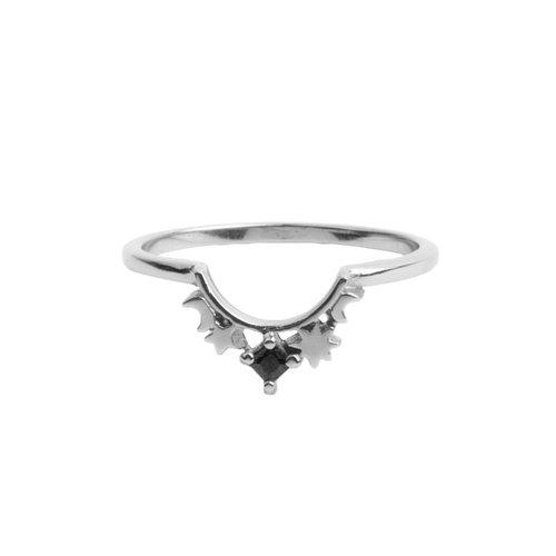 Ring Kroon Ster Zwart zilver