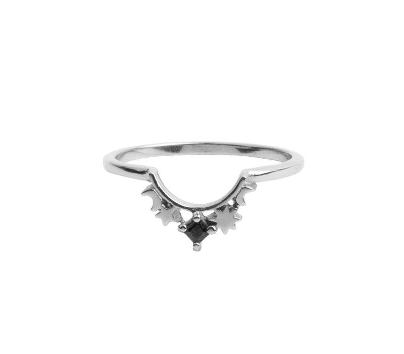 Ring Kroon Ster Zwart verzilverd