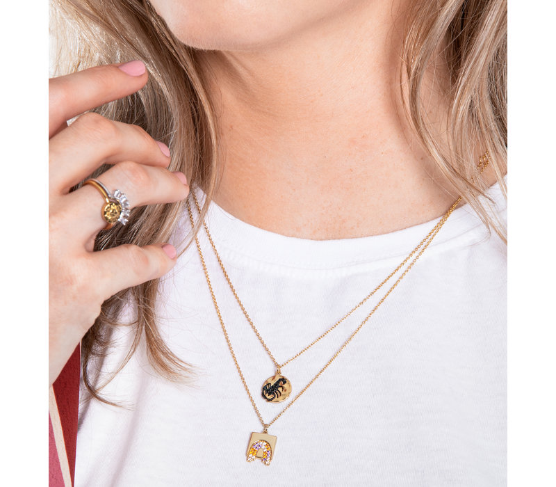 Necklace Scorpio Circle Black 18K gold