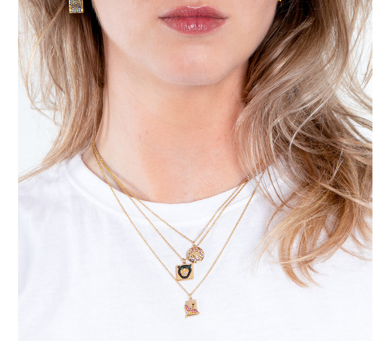 Bold Goldplated Necklace Panter Square Multi Color
