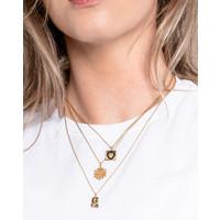 Necklace Moon Stars Rectangle Black Blue  18K gold
