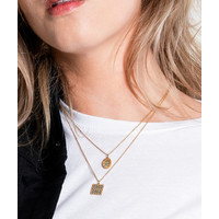 Bold Goldplated Necklace Graphic Square Green Blue