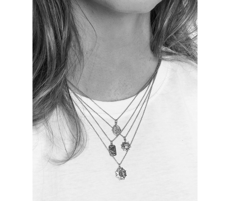 Charm Silverplated Necklace Zebra Rectangle