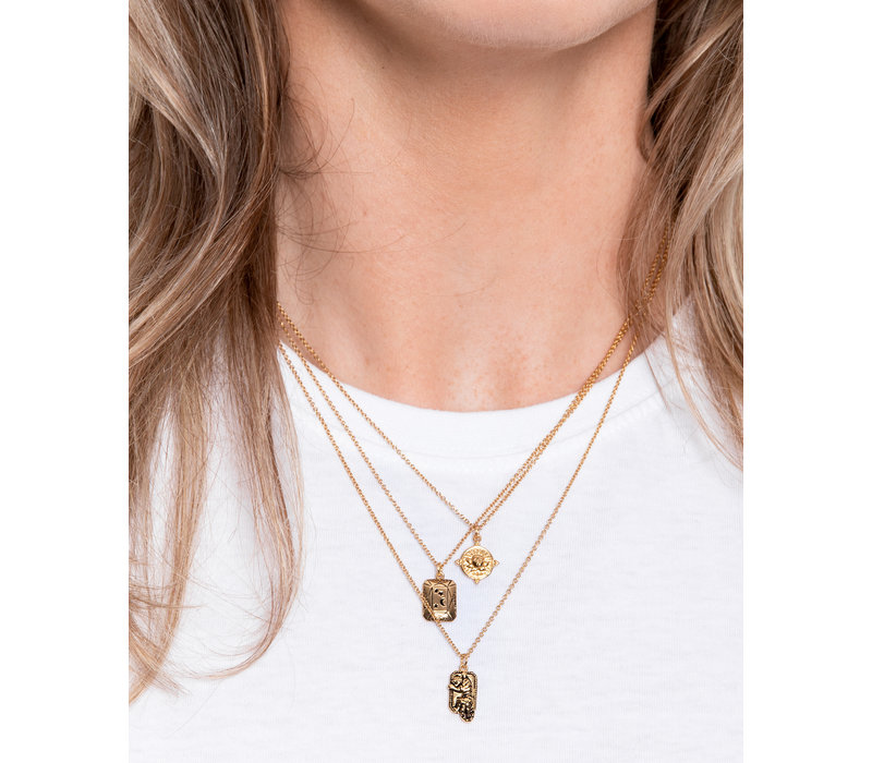 Charm Goldplated Necklace Tiger Rectangle