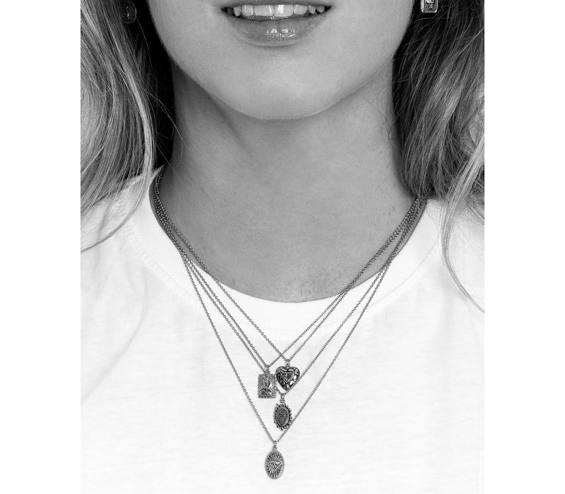 Charm Silverplated Necklace Sun Moon Oval